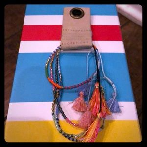 Colorful adjustable bead and string bracelet